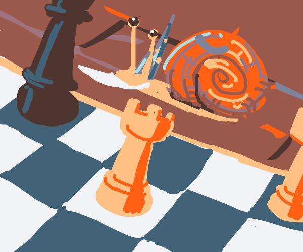 Snail wizard plays chess