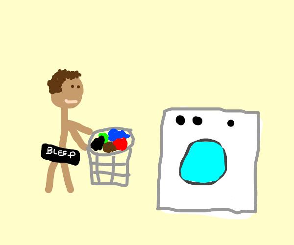 Doing laundry while naked