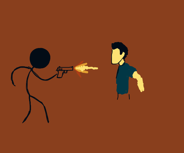 Crazed stickman shoots a real person