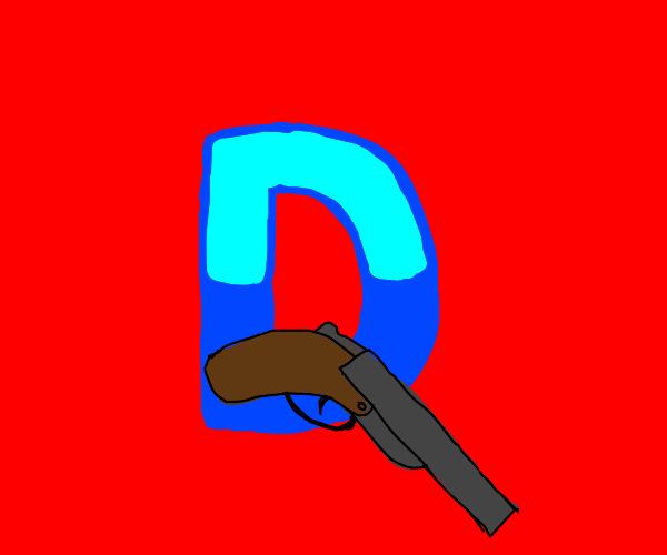 Drawception D wielding a shotgun