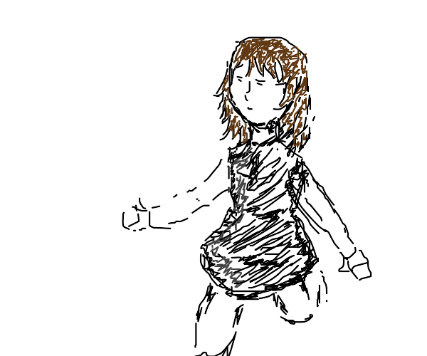 girl with brown hair and black skirt