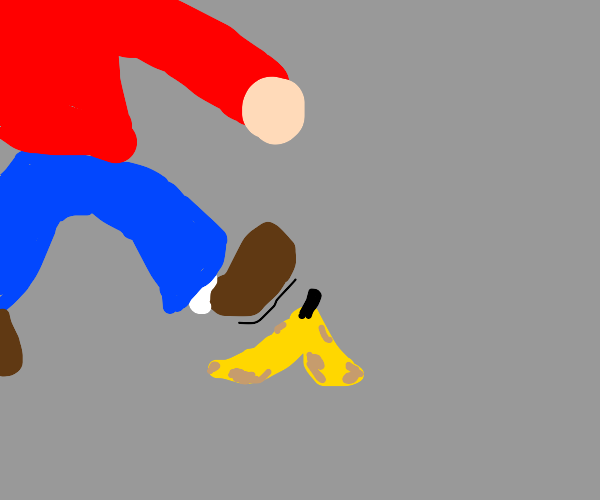 man slipped and fell on a banana :((