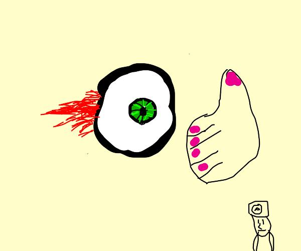 Giant floating eye thanks the doctor.