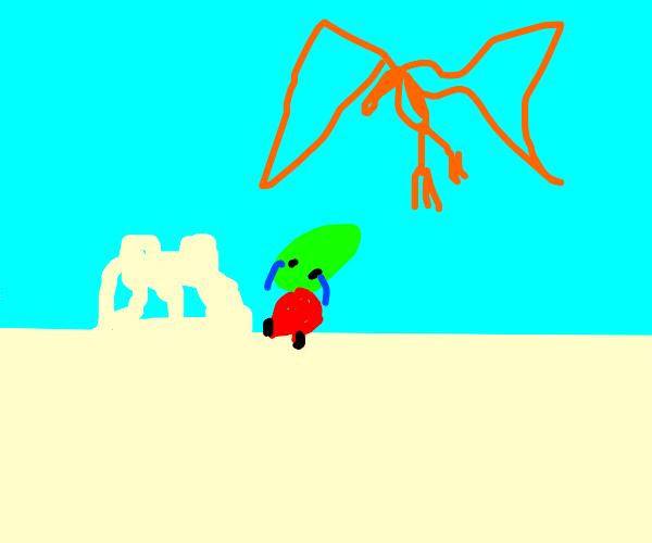 A Pheonix destroying aliens sand castle