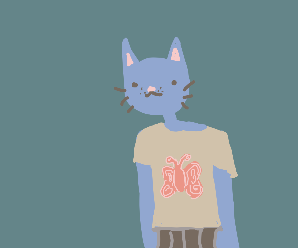 blue anthro cat in a butterfly shirt
