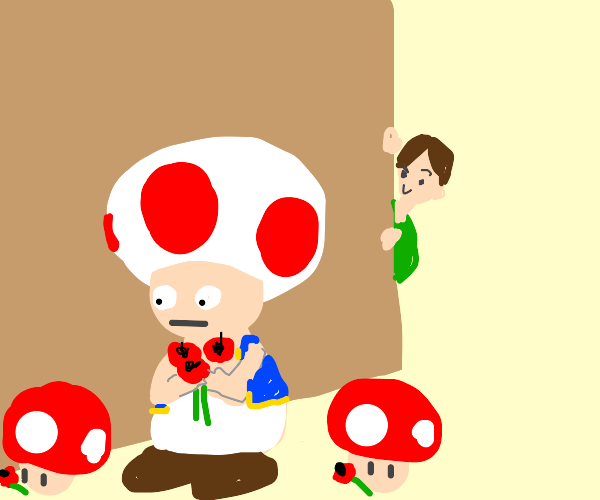 Toadstool men with poppies get stalked