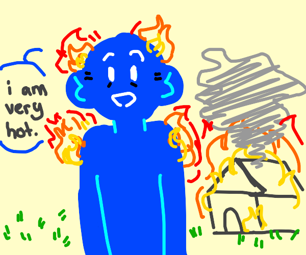pure blue man says he is very hot