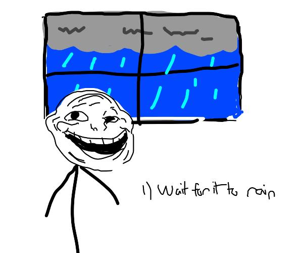 Troll watching the rain