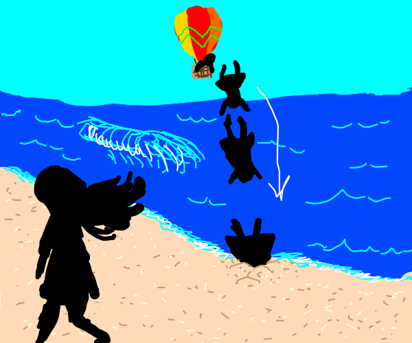 Woman dives from hot air balloon, to beach.