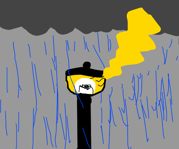 lightning striking lamppost