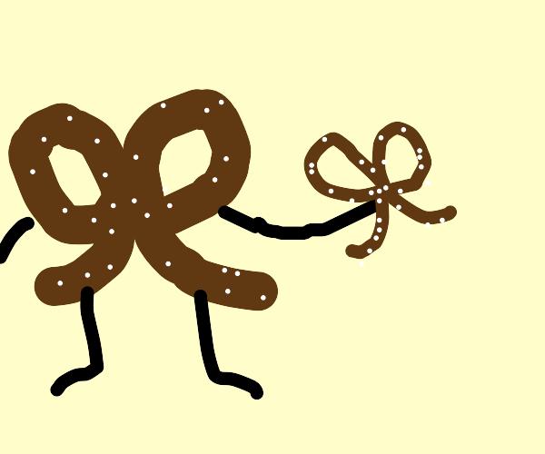 Pretzel holding a smaller pretzel