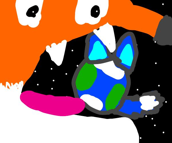 Giant space fox eating an Earth-fox
