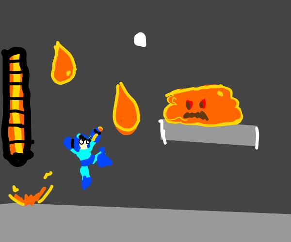 mega man fights orange blob