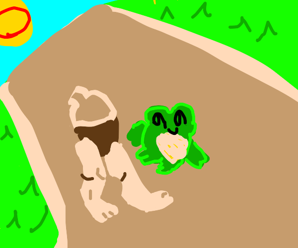 Frog and acorn chatting on a walk