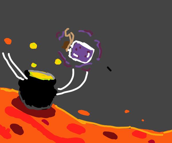 a filled potion bottle floats by a cauldron.