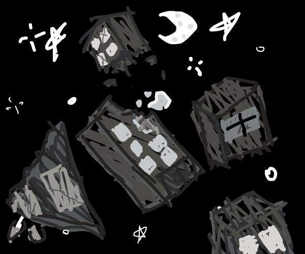 Ruins of buildings in the night sky