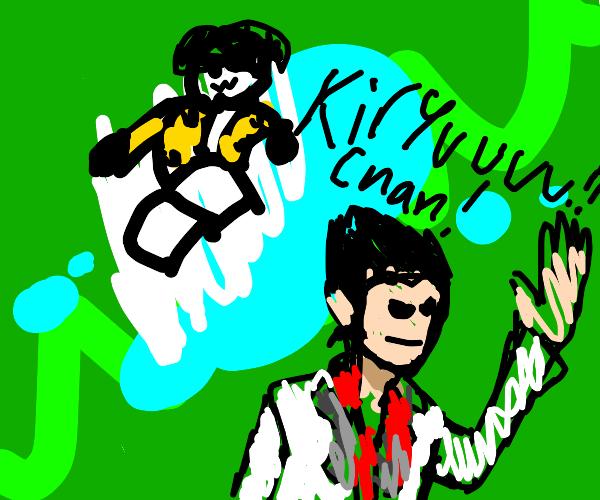 Majima chasing Kiryu