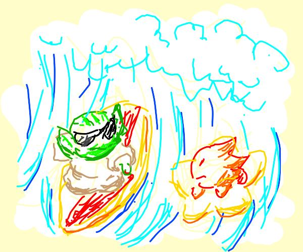 Surfer Yoda meets a red alien.