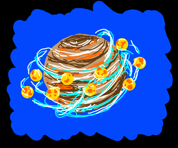 Jupiter and its moon of cheese