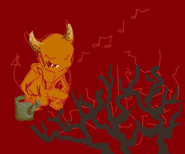 Devil singing to plants
