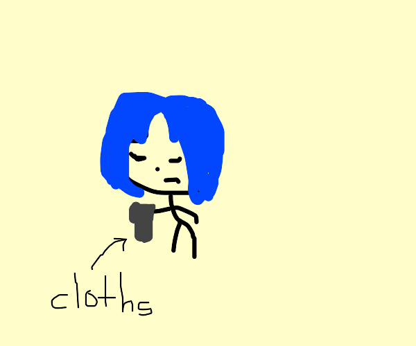 Blue haired girl with black cloths is sad
