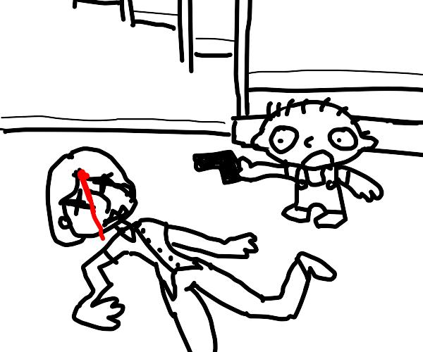 Stewie kills Louis (family guy)