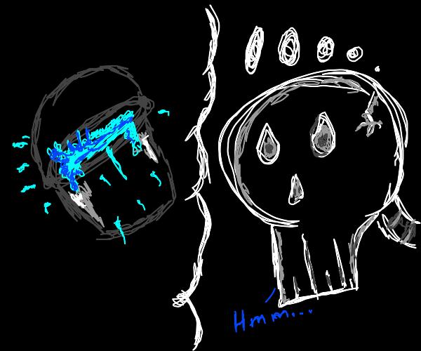 Skeleton imagining a Bucket