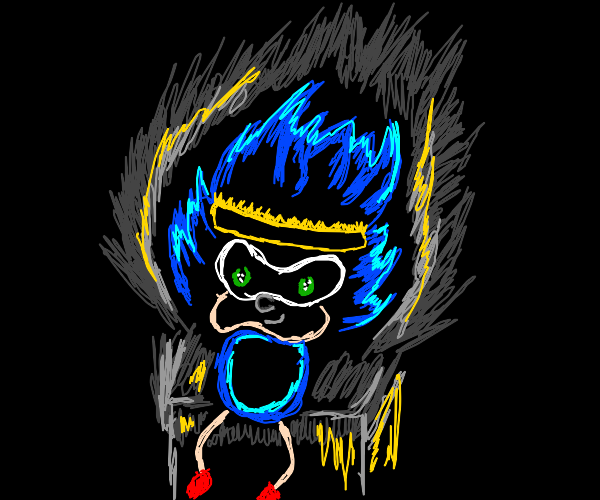king sanic.exe sits on a throne with a crown