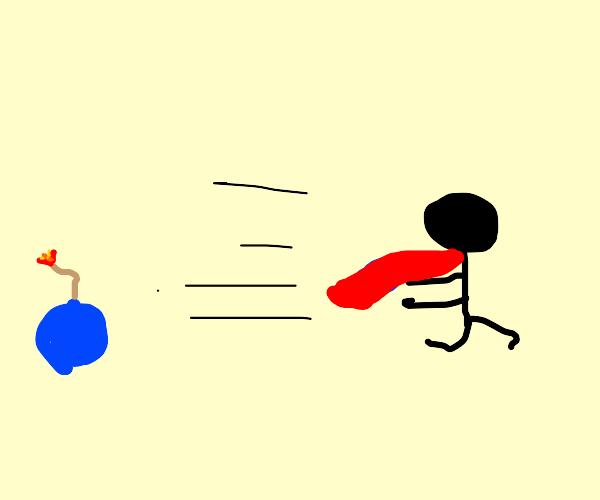 A man with a cape escapes a blue bomb