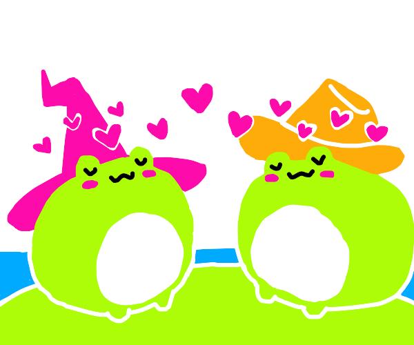 Frogs in love wearing hats