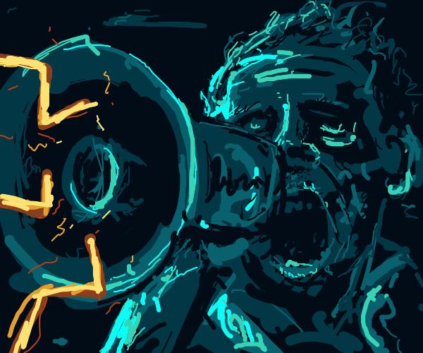 Neon blue man with megaphone