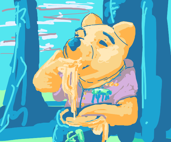 Dictator Pooh eating his dinner