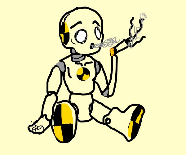 Crash test dummy smoking cheeba