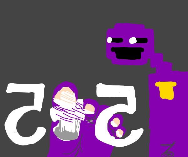 Purple guy doing math with feet