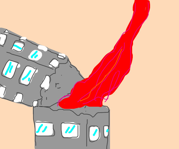 A building consuming an unknown red liquid