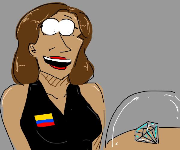 Latina woman in black dress gazes at diamond