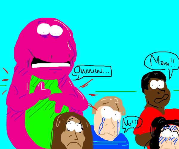 Barney having chest pains, scaring the kids