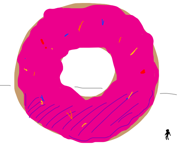 enormous pink donut