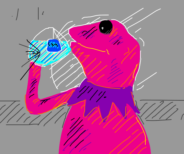 inverted colour Kermit sips tea