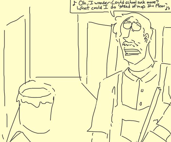 Janitor singing