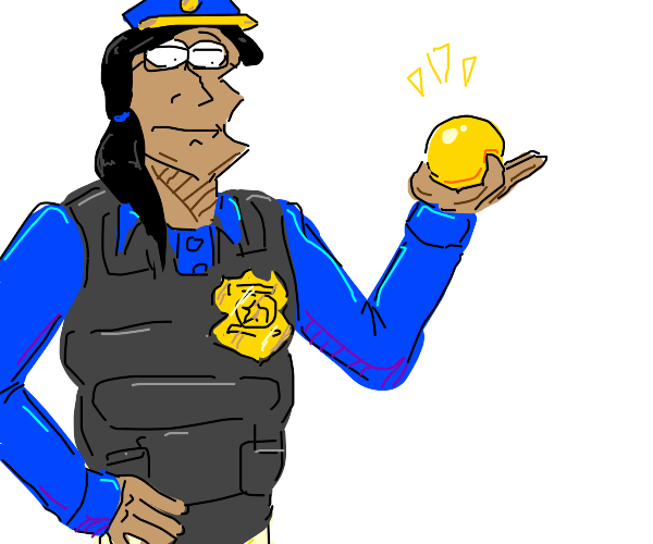 A Cop with a yellow ball