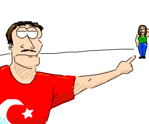 turkish man pointing at a woman