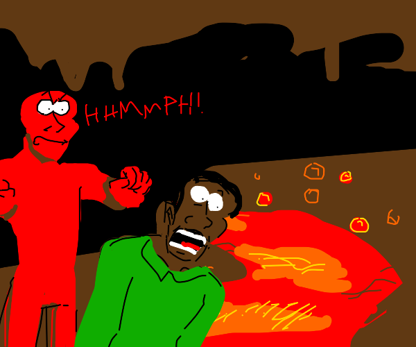Red person pushing a black person into lava