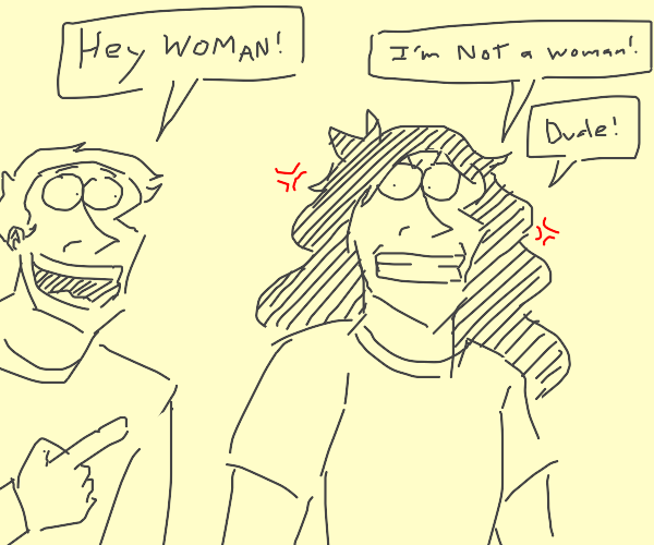 long haired man mistaken for woman