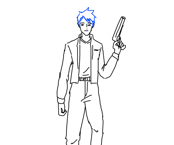 Blue haired person with a gun