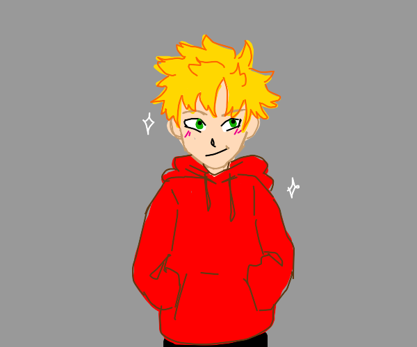 Blonde anime dude puts on an optimistic face