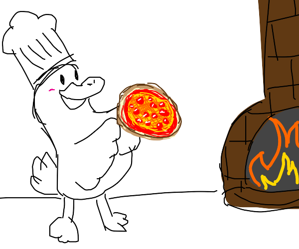 Duck makes fire-toasted pizza