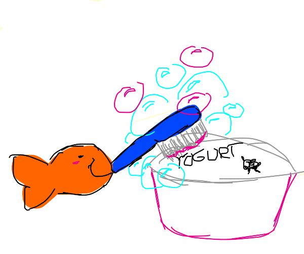 Goldfish cleaning Yogurt