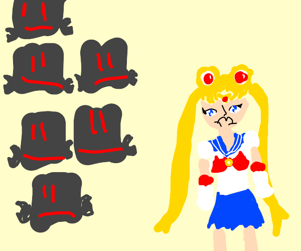 Angsty Sailormoon walking away from robots
