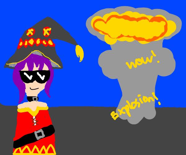 megumin casts explosion